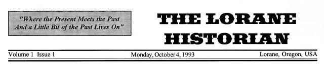 Lorane Historian Vol1Iss1 header
