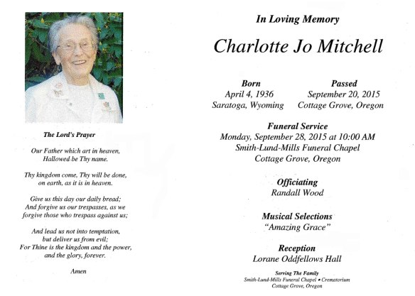 Charlotte Mitchell funeral card