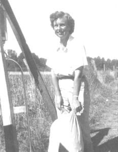 Mama in beanfield
